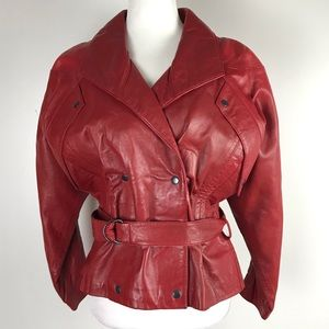 North Beach Leather Red Belted Moto Biker Jacket 6